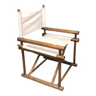 Pair of White Directors Canvas Chairs For Sale