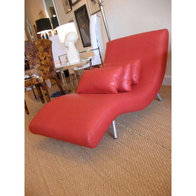 Red Mid Century Modern Chaise Longue For Sale - Image 8 of 10