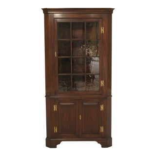 1970s Chippendale Henkel Harris Mahogany Corner Cabinet With Crackle Glass For Sale