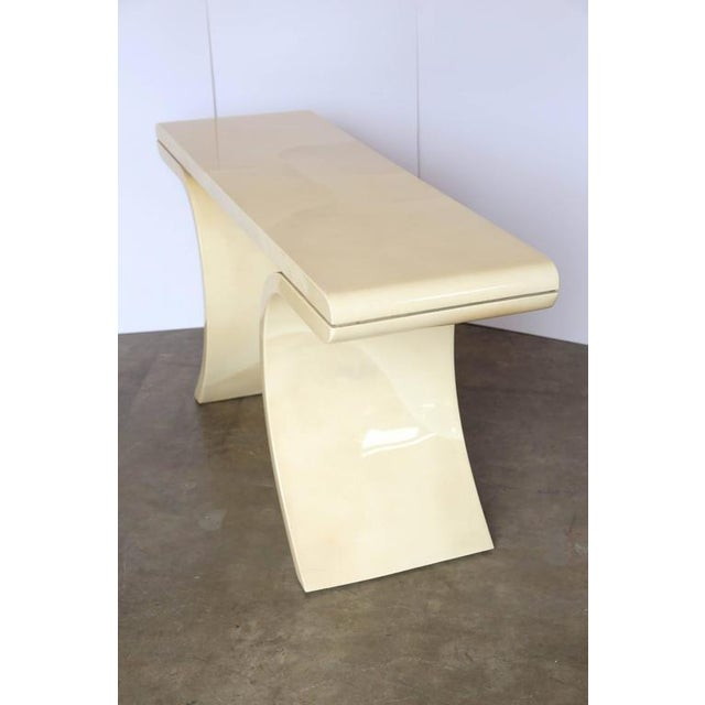 Mid Century Modern Lacquered Goat Skin Console Table in the Manner of Karl Springer - Image 4 of 10