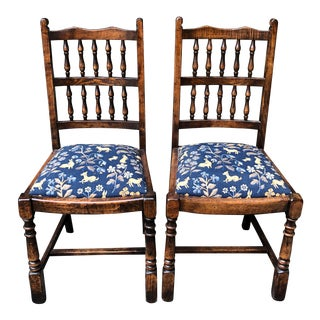 Spindle Back Chairs With Upholstered Seats- A Pair For Sale