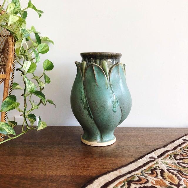 Ceramic Vintage Studio Art Teal Stoneware Vase For Sale - Image 7 of 7