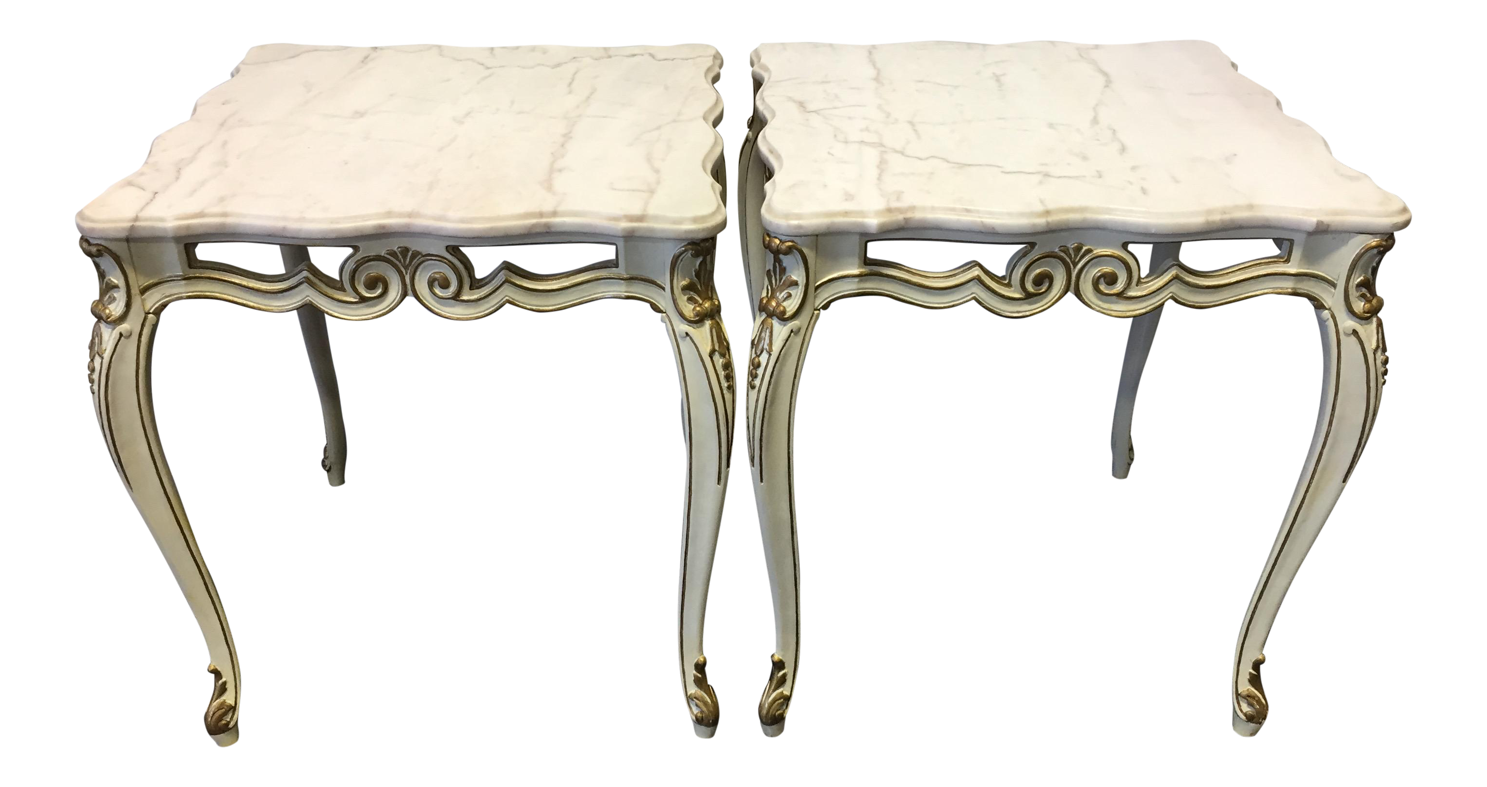 French Provincial Cream U0026 Gold Marble Top End Tables   A Pair