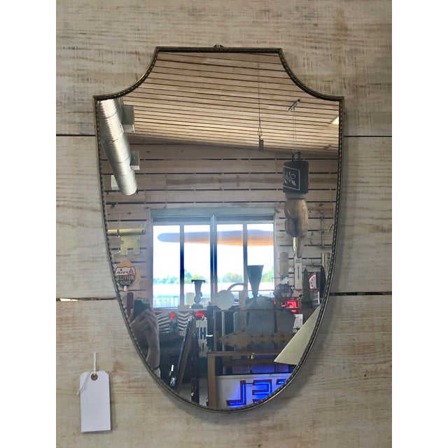 1960s Midcentury Italian Shield Brass Mirror For Sale - Image 5 of 5