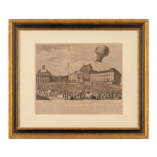 18th Century French Montgolfier Brother's Balloon Etching For Sale