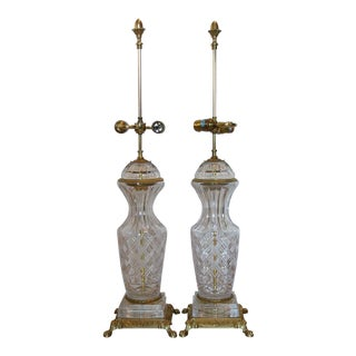 Crystal & Brass Large Table Lamps - A Pair For Sale