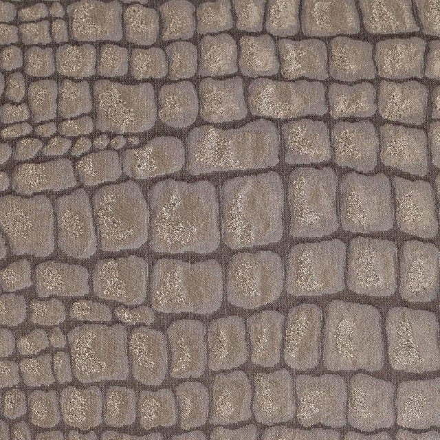 Pair of Gauffraged Crocodile Fabric Pillows in Metallic Antique Bronze Hue For Sale - Image 4 of 8