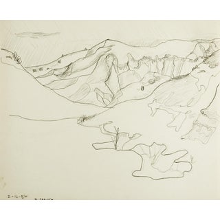 North Dakota Hills & Valleys Pencil Study Drawing For Sale