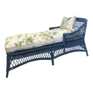 Wicker Chaise with Custom Brunschwig & Fils Cushions For Sale