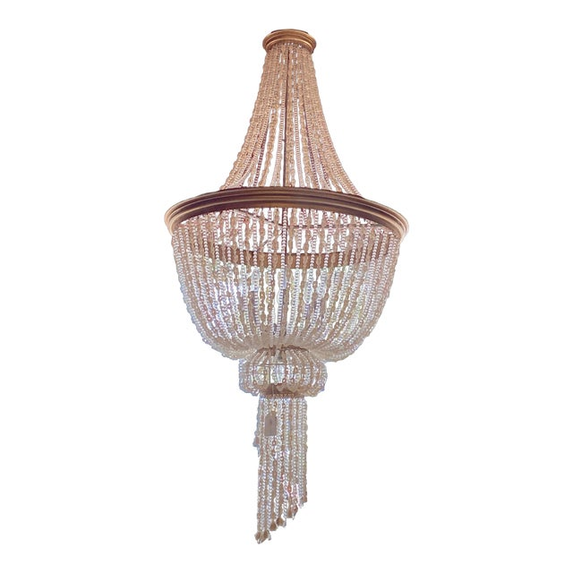 """French 64"""" Crystals and Shells 9 Light Coastal Chandelier For Sale"""