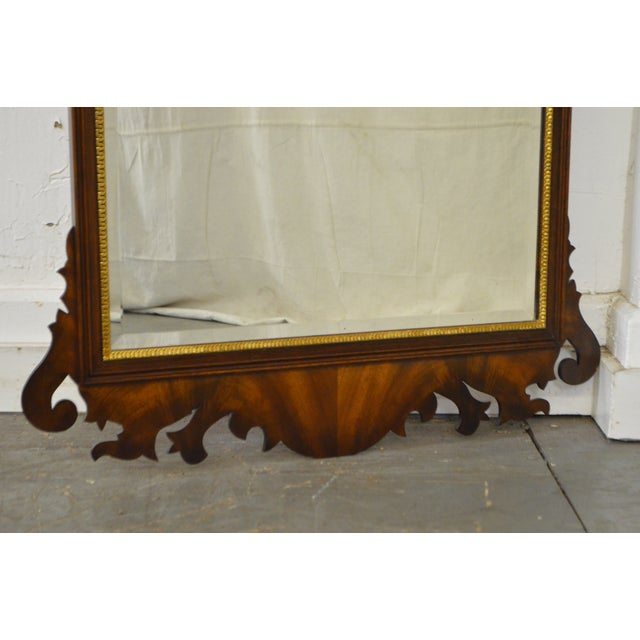 Henkel Harris Flame Mahogany Shell Carved Chippendale Style Wall Mirror For Sale - Image 5 of 10