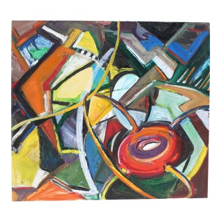 Modern Abstract Expressionist Oil on Canvas in Bold Jewel Colors by Friesen For Sale