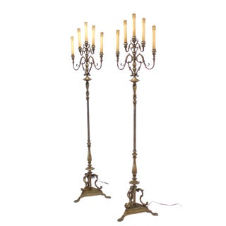 Pair of Tall Heavy Brass Torchere Floor Lamps Candelabra Style For Sale