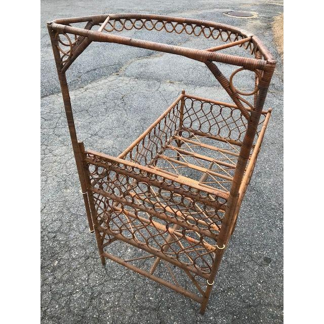 Brown Antique Victorian Wicker Youth Bed With Quarter Canopy Bed by Heywood Brothers Gardner Ma For Sale - Image 8 of 13