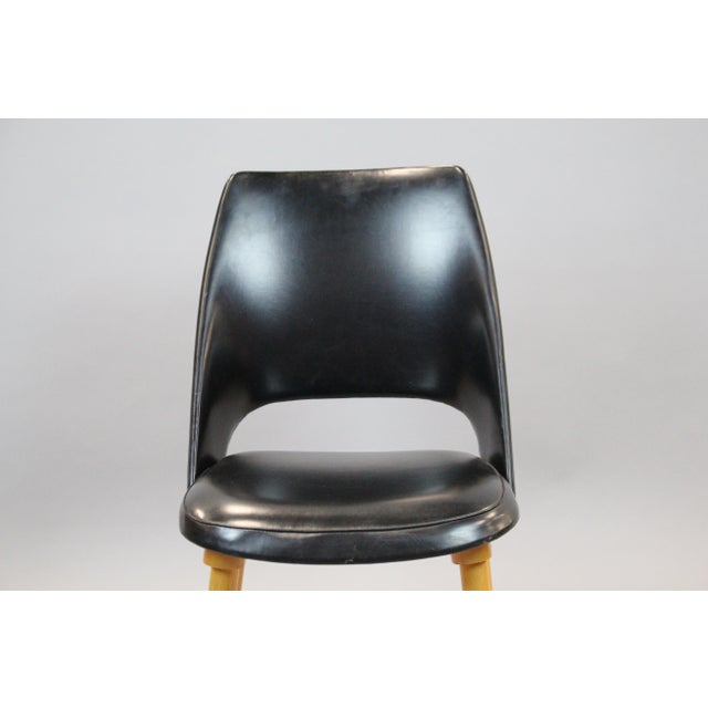 Mid-Century Vinyl Noir Side Chairs - a Pair - Image 5 of 6