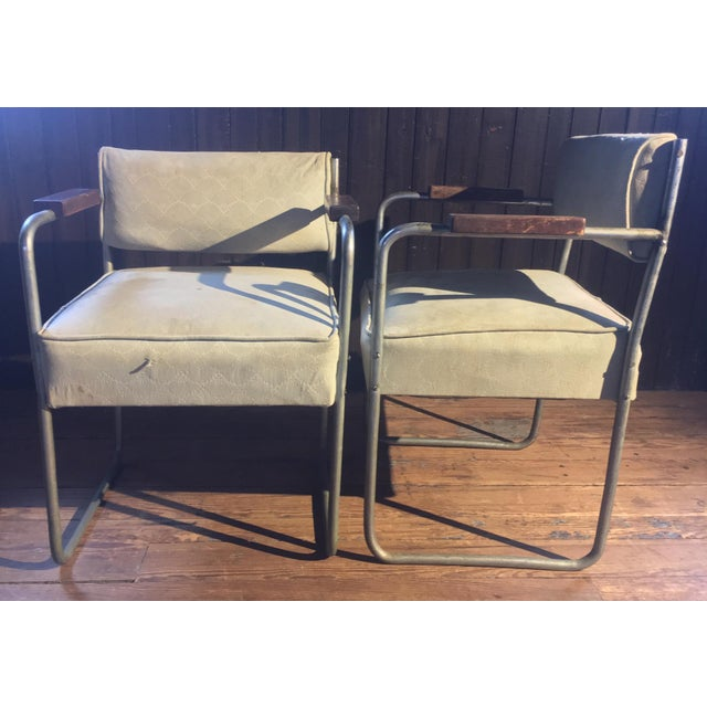 Art Deco 1930s Streamline Moderne Tubular Nickel Plated Armchairs - A Pair For Sale - Image 3 of 8