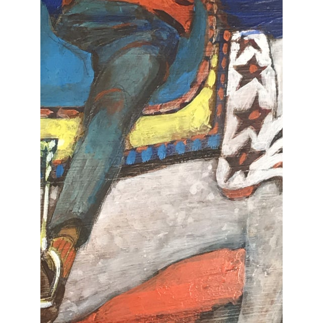 1980s Folk Art Style Figurative Unicorn Painting on Board by Ted Bredt For Sale - Image 9 of 10