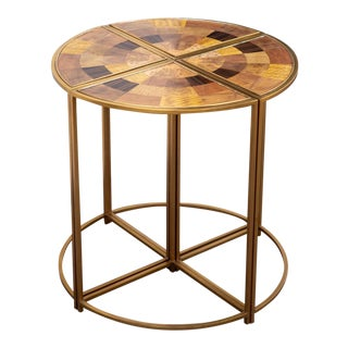 Vintage Theodore Alexander Bronze Quarter Tables With Inlaid Wood Patterns For Sale