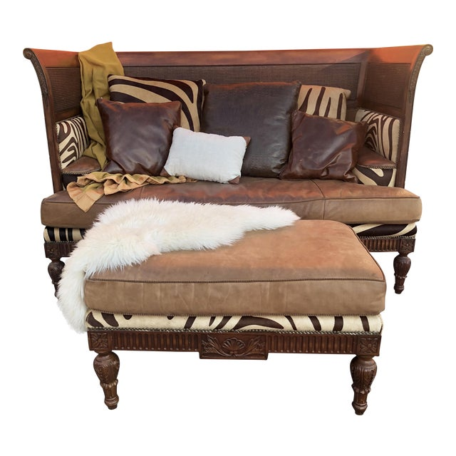 Maitland Smith Mahogany, Leather and Zebra Print Sofa and Ottoman For Sale