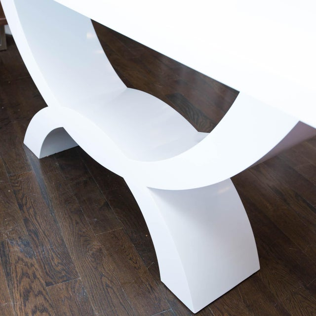 White Custom Lacquered Console Table For Sale - Image 8 of 10