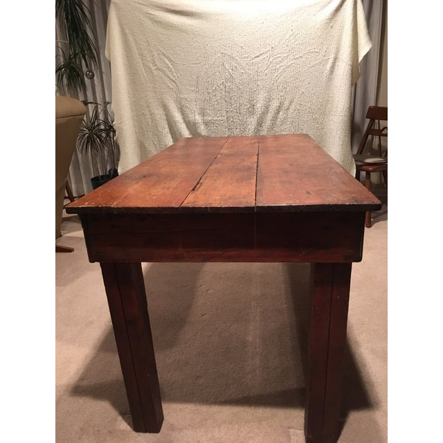 French Country Rustic Farmhouse Handmade Wood Rectangular Kitchen Table For Sale - Image 3 of 3