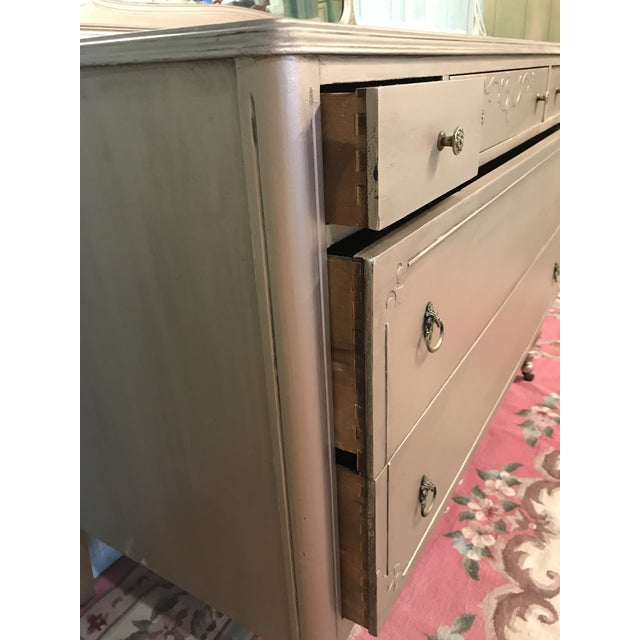 Silver Pewter Antique Painted Dresser For Sale - Image 4 of 5 - Silver Pewter Antique Painted Dresser Chairish