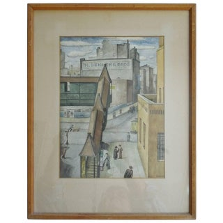 Spectacular Orig Watercolor Painting, New York City, 1934 by Wpa Artist Sewall For Sale
