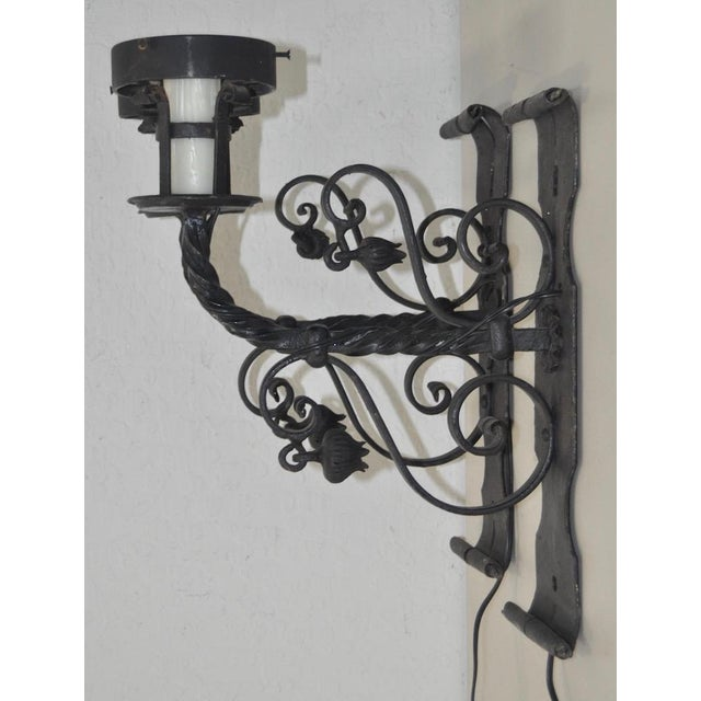 Italian Early 20th Century Italian Wrought Iron Wall Sconces - A Pair For Sale - Image 3 of 5