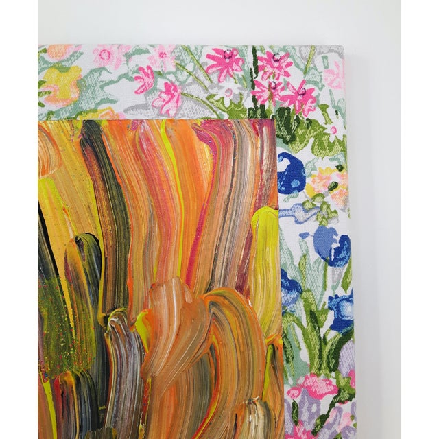 """Yellow Contemporary Abstract Floral Acrylic on Vintage Textile by Frances Sousa, """"Harley, David, Jean"""" For Sale - Image 8 of 9"""