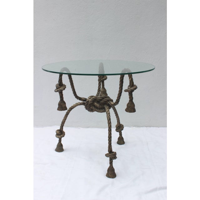 Modern Maison Jansen Style Solid Brass Rope Table For Sale - Image 3 of 10