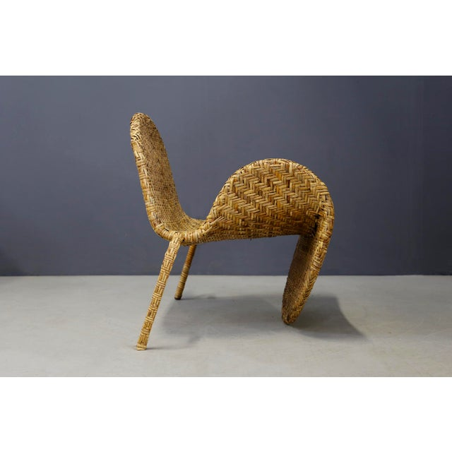 Italian Italian Mid-Century Armchairs in Beige Colored Rattan, 1950s For Sale - Image 3 of 12