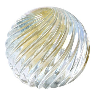 Signed Swirled Seguso Murano Glass Paperweight For Sale