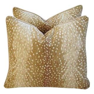 Custom-Tailored Antelope Fawn Spot Velvet Feather/Down Pillows - Pair For Sale