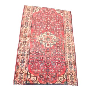 1980s Red Qashghai Persian Rug - 3′7″ × 5′5″ For Sale