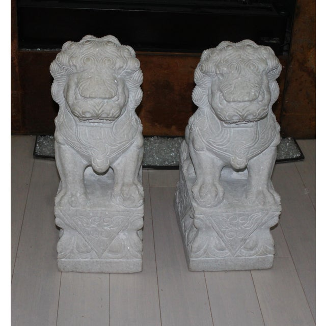 Foo Dog Stone Quartz Statues - A Pair - Image 2 of 5