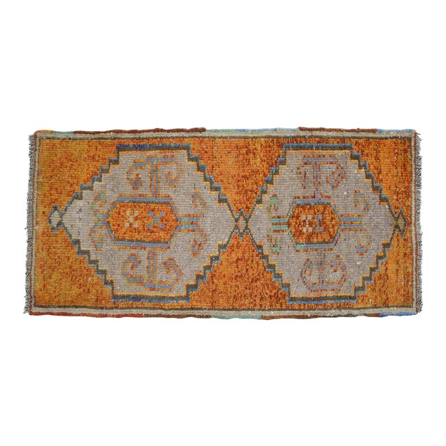 Distressed Low Pile Oushak Yastik Rug Faded Colors Vintage Petite Rug - 21'' X 42'' For Sale