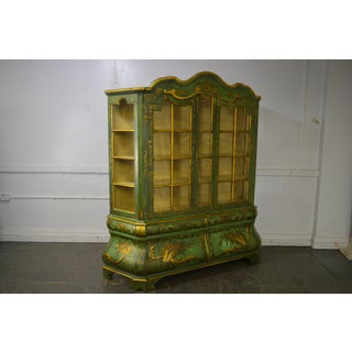 Italian Hand Painted Large Bombe Bookcase Breakfront Preview