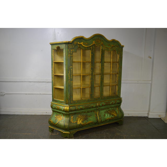 *STORE ITEM #: 16367-fwmr Italian Hand Painted Large Bombe Bookcase Breakfront AGE / ORIGIN: Approx. 75 years, Italy...