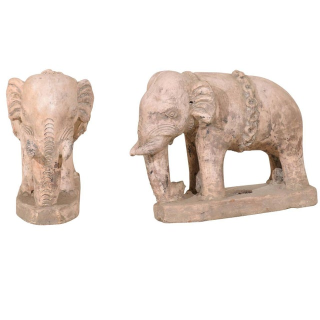 Pair of Eclectic 20th Century British Colonial Terracotta Elephants in Pale Pink For Sale - Image 9 of 9