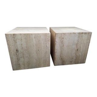 Mid-Century Modern Travertine Cube Side Tables - a Pair For Sale