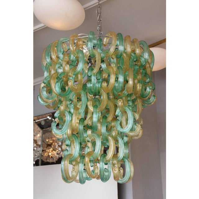 "Murano Glass Green and Gold ""C"" Link Chandelier For Sale - Image 9 of 9"