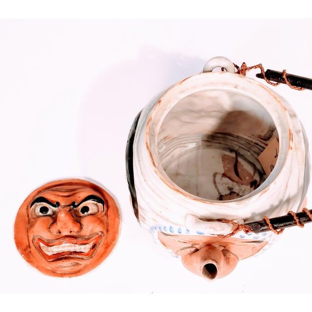 19th Century Antique Banko Five Face Mask Teapot For Sale - Image 4 of 12
