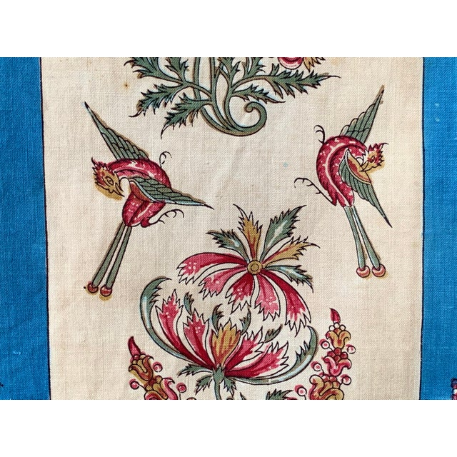 """Antique French Fabric Floral And Stripe Indienne Fabric - 25.5x65.75"""" For Sale - Image 9 of 11"""