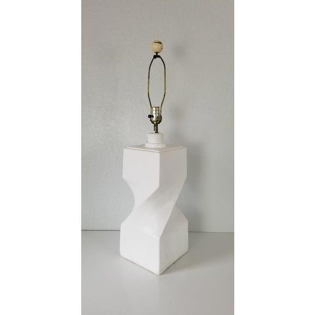 Mid-Century Modern Postmodern Geometric Plaster Decorative Table Lamp For Sale - Image 3 of 9