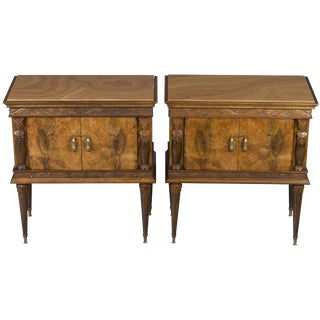 Italian Walnut Marble Top Nightstands - a Pair