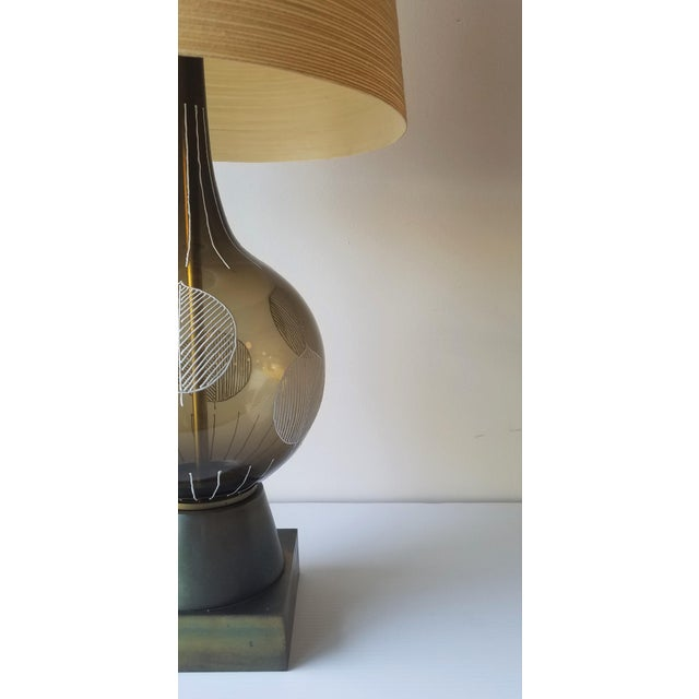 1960s Lotte and Gunnar Bostlund Hand Painted Glass Table Lamp For Sale In Seattle - Image 6 of 11