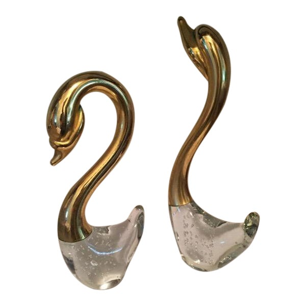 Brass & Crystal Swans - A Pair For Sale