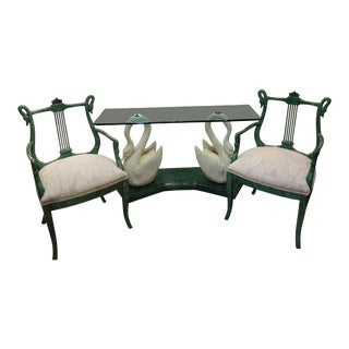 1970s Vintage Malachite Console With Chairs- 3 Pieces For Sale