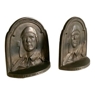 1929 Art Deco Charles Lindbergh Aviator Bookends - a Pair