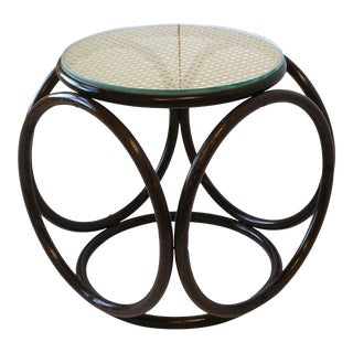 Thonet Bentwood Cane and Glass Top Side Table or Stool For Sale